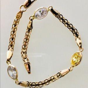 14k Bismarck chain & CZ Bracelet